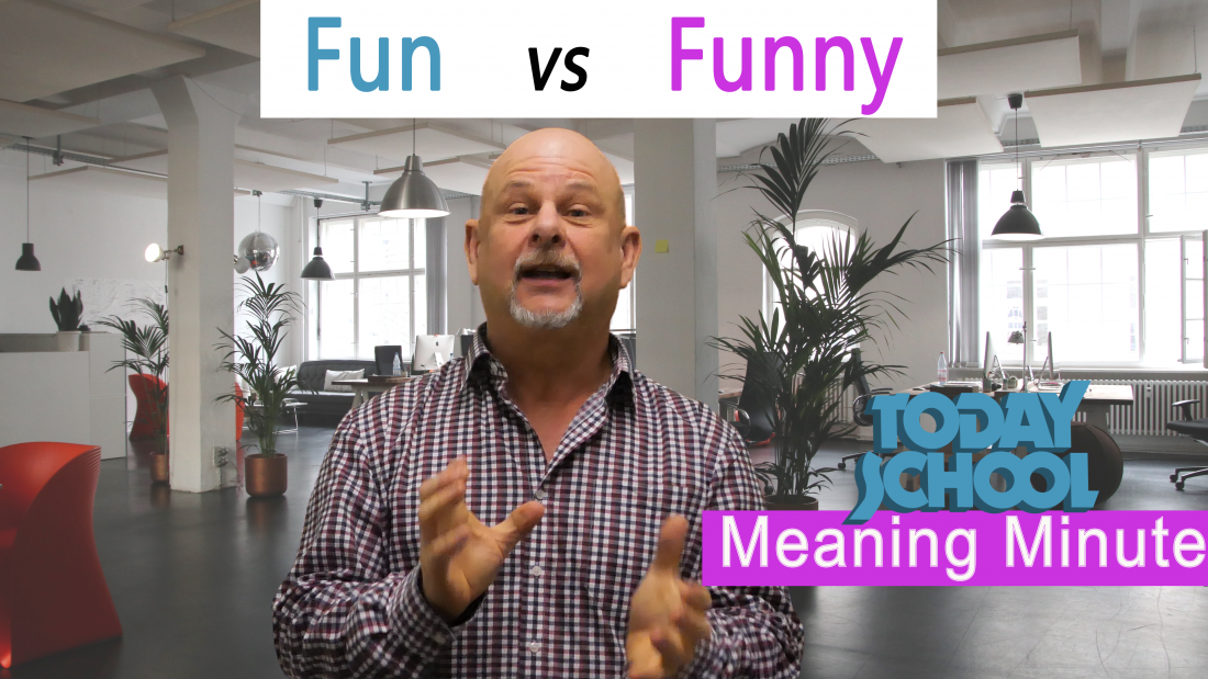 Video explaining difference between fun and funny. English vocabulary.